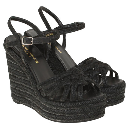 Saint Laurent Sandalen met Bastgeflecht