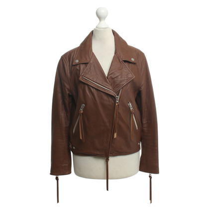 Acne Lederjacke in Braun