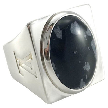 Louis Vuitton Silver ring with obsidian stone