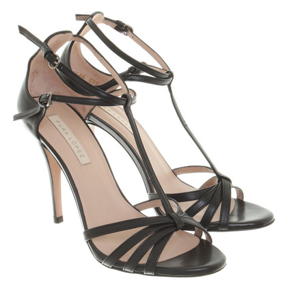 Pura Lopez Sandals in Black