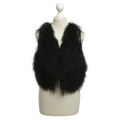Other Designer Oui - vest with fur trim in black