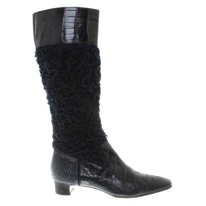 Dolce & Gabbana Stiefel aus Pelz und Leder