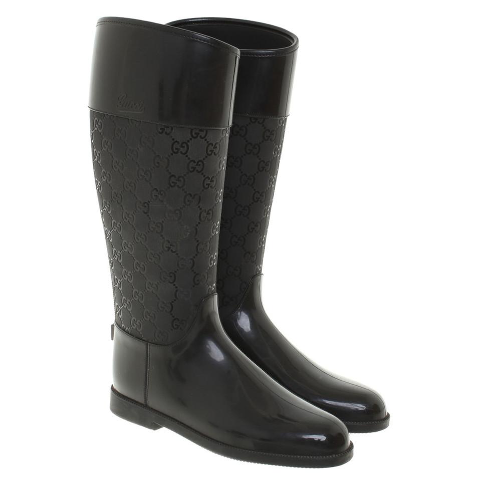Rubberen Schoudertassen : Gucci rubberen laarzen in zwart koop tweedehands