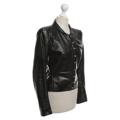 Roberto Cavalli Leren jas in zwart