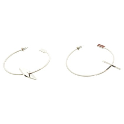 Christian Dior Zilver Geplateerde hoop earrings
