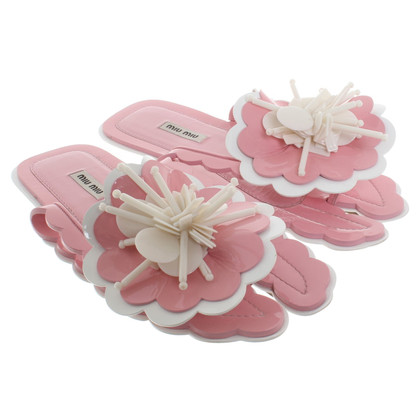 Miu Miu Sandali con applicazione floreali