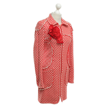 Chanel Bouclé-Mantel in Rot/Creme