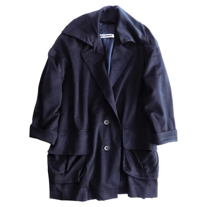 Jil Sander Oversized cashmere coat in navy