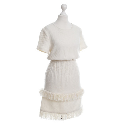 Maje Crème jurk met franjes