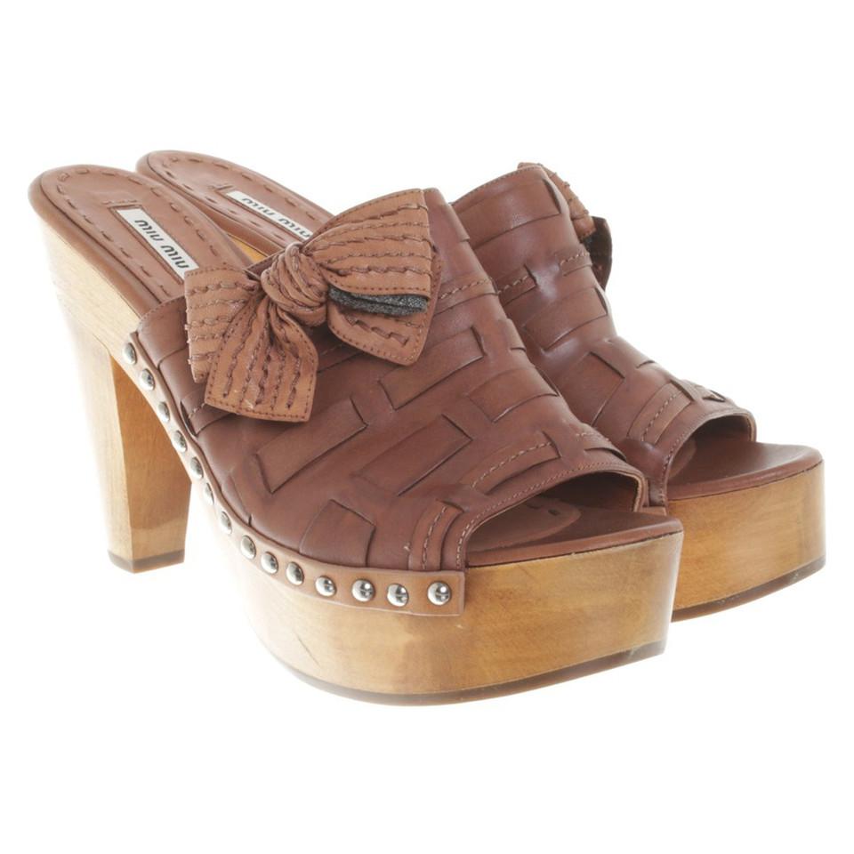Miu Miu Sandales en bois / cuir