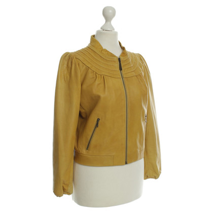 Damir Doma Leather jacket in mustard yellow