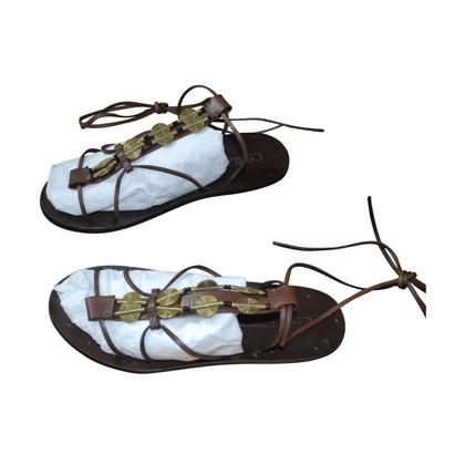 Ralph Lauren Donkere bruine sandalen in de hippie-look