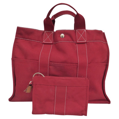 Hermès Roter Shopper aus Canvas
