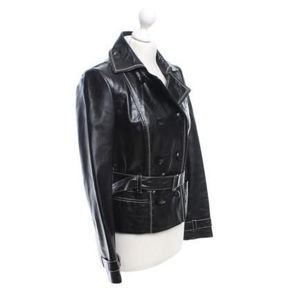 Laurèl Zwart lederen jas met revers
