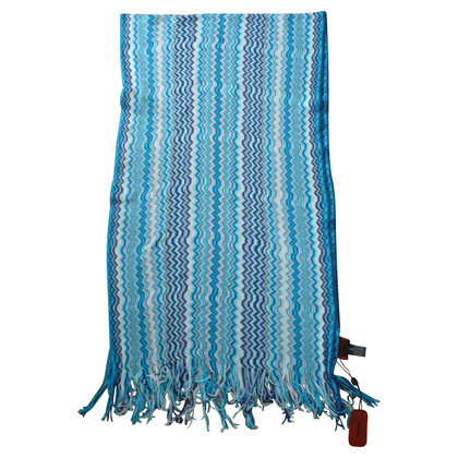 Missoni Knit scarf in blue and white