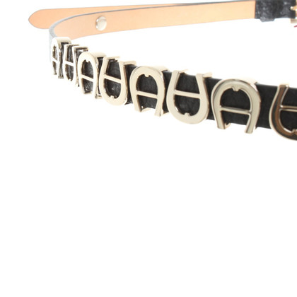Aigner Leather belt with label applications