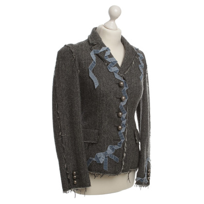 Moschino Cheap and Chic Wool Blazer with herringbone pattern