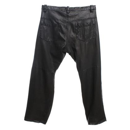 Drome Pantaloni di pelle in nero