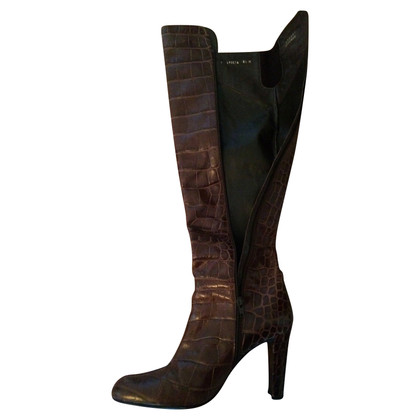 Stuart Weitzman Leather boots with crocodile imprint