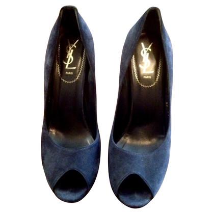 Yves Saint Laurent Suede peep toes
