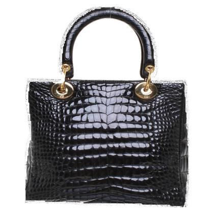 "Christian Dior ""Medium Lady Dior"" en cuir de crocodile"