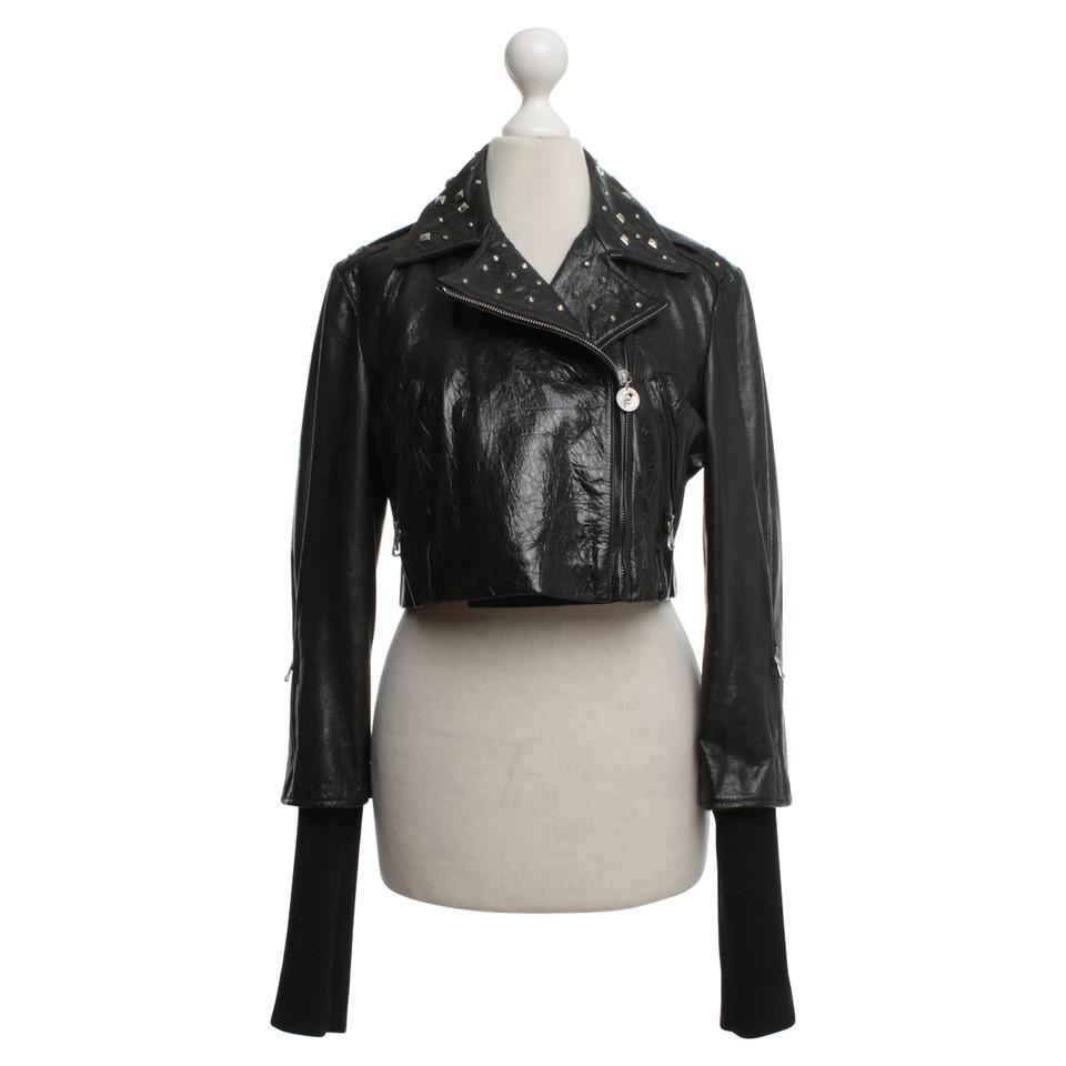 Patrizia Pepe giacca di pelle corta in nero