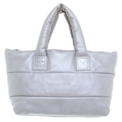 Chanel Quilted shopper in silver