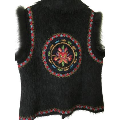 Escada Fur vest with embroidery