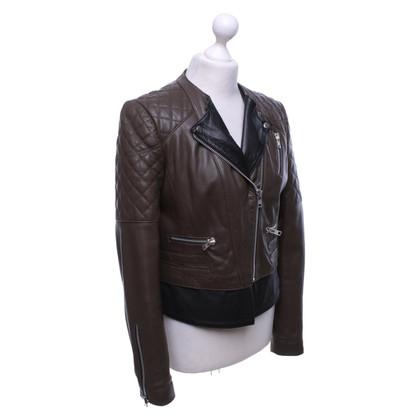 Set Leather jacket in brown / black