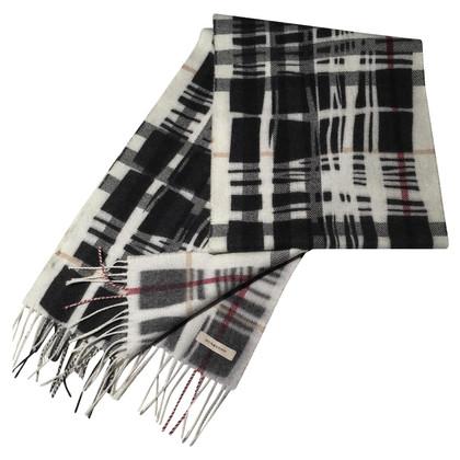 Burberry / Scialle di lana bianco nero