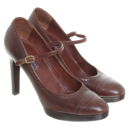 Ralph Lauren Marrone pumps con cinghie