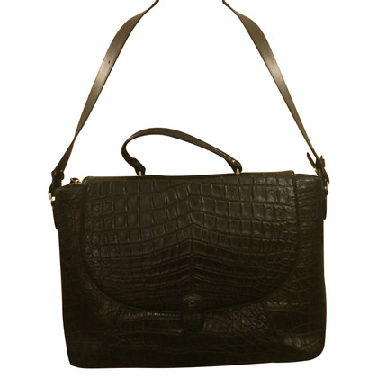 Aigner Briefcase with crocodile leather embossing