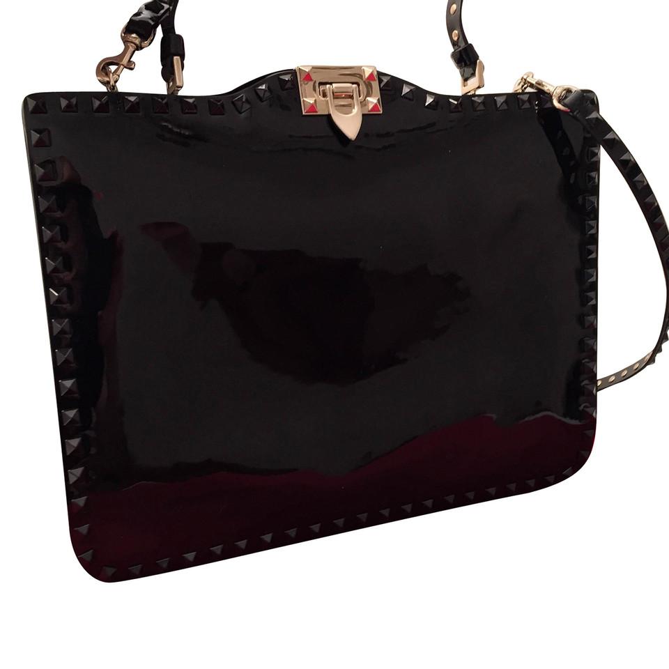 valentino sac main en cuir verni noir acheter valentino sac main en cuir verni noir second. Black Bedroom Furniture Sets. Home Design Ideas