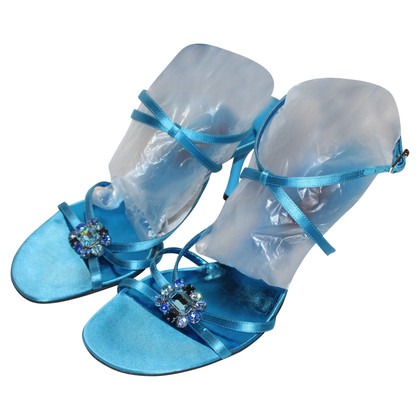 Escada Sandals in turquoise blue