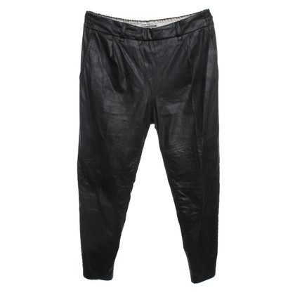 Drykorn trousers in leather look in black