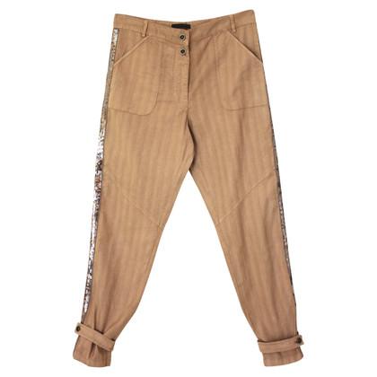 Pinko Pantalon à fines rayures avec des paillettes