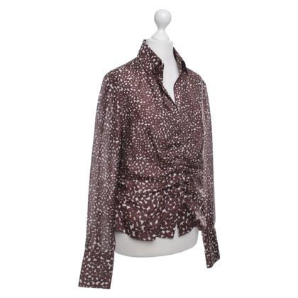 René Lezard Zijden blouse met patroon