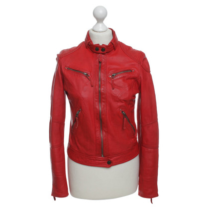 Oakwood Veste en cuir en rouge