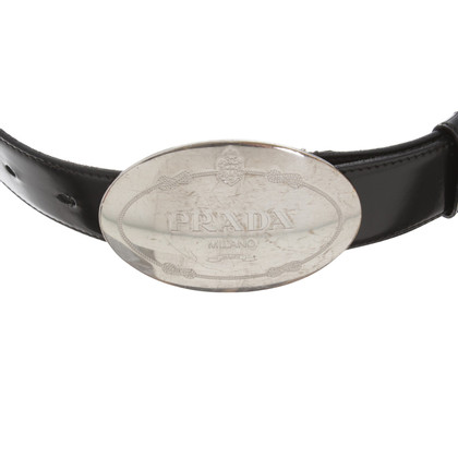 Prada Leather belt with silver buckle