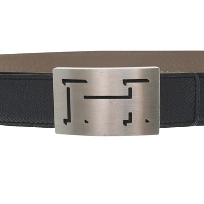 Hermès Gürtel in Blau/Taupe