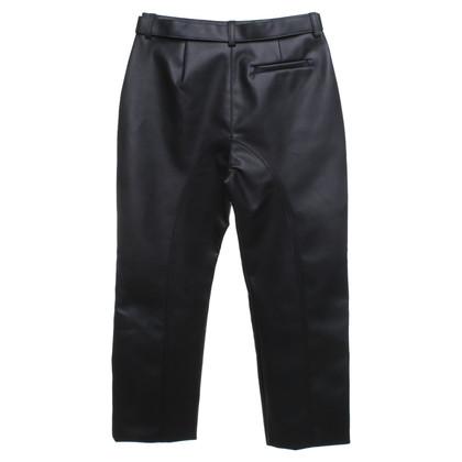 Self-Portrait pantaloni di pelle imitazione in nero