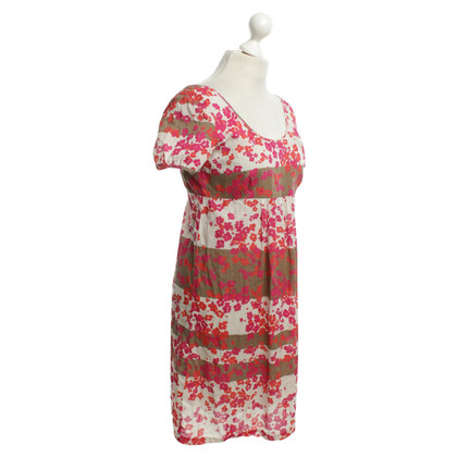 Closed Twin-Set-Kleid in Beige/Rot/Fuchsia
