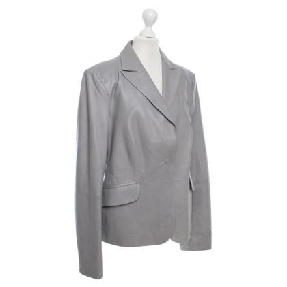 Armani Collezioni Leather Jacket in Gray