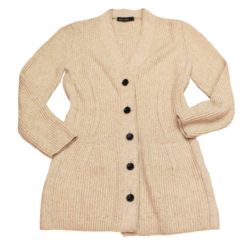 29ce3f6bb66d Marc Cain Knitted coat in beige - Second Hand Marc Cain Knitted coat ...