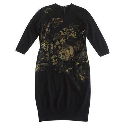 Roberto Cavalli Wool dress with golden roses 40 IT