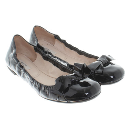 Prada Ballerina's in zwart lakleer