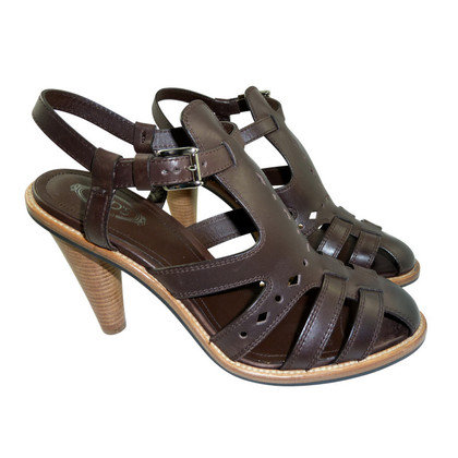 Tod's Dark brown Sandals made of leather with a heel