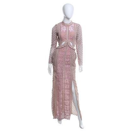 Self-Portrait Crocheted lace dress in pink and beige
