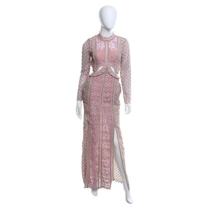 Self-Portrait Kleid aus Häkelspitze in Rosa und Beige