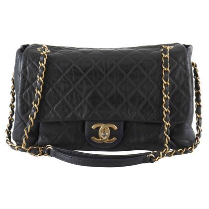 Chanel Zwarte Gewatteerde iriserende Flap Bag